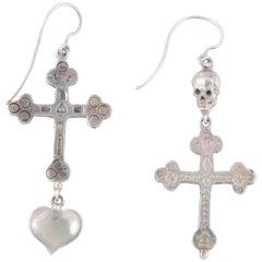 Skull and Cross Silver Earrings