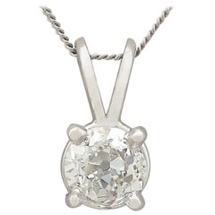 Antique and Contemporary Diamond and Platinum Solitaire Pendant