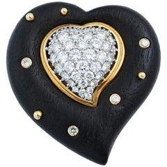 Wood Heart Brooch