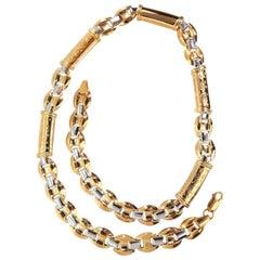 European 18 Karat Gold Wide Link Necklace