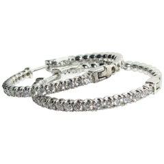 1.80 Carat Diamond Hoop Earrings GH/VS EZ Snap 14 Karat