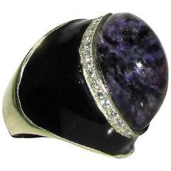Natural 20.75 Carat Purple Jade Diamond Ring Modern