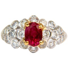 1.96 Carat Vivid Top Gem Natural Bright Red Ruby Diamond Ring 14 Karat