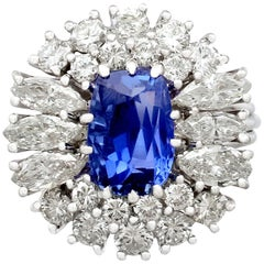 Antique 2.70 Carat Sapphire and 2.42 Carat Diamond White Gold Cluster Ring