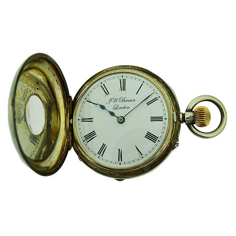 J.W. Benson Sterling Silver Half Hunters Case Pocket Watch, circa 1890s For Sale