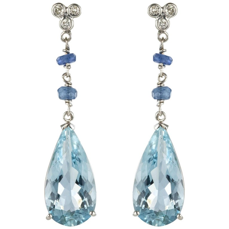 New Sapphire Aquamarine Diamond Dangle Earrings