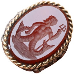 Tiffany & Co. Carnelian Intaglio of Triton Gold Ring
