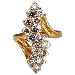 2.00 Carat Natural Lt Brown Diamonds Rounds Cocktail Prime Cluster Ring 14 Karat