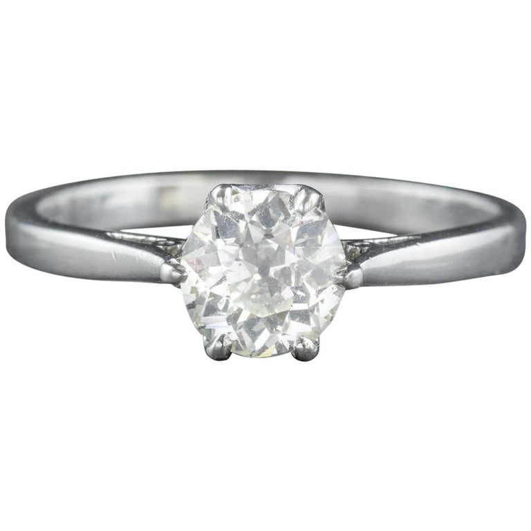 Antique Edwardian Diamond Engagement Ring Platinum, circa 1910