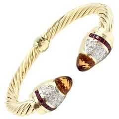 14 Karat Gold Diamond, Citrine and Rubellite Cable Cuff Bracelet