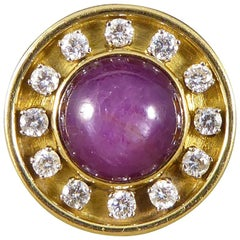 7.00 Carat and Cabochon Star Ruby and Diamond Circle Ring in 18 Carat Gold