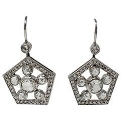 2.22 Carat White Rose Cut Diamond Dangle Earrings