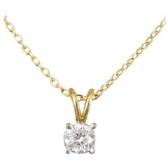Contemporary 0.25 Carat Diamond Stud Pendant on 9 Carat Yellow Gold Chain