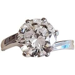 Certified 3.22 Carat Round Cut Diamond White Gold Engagement Ring