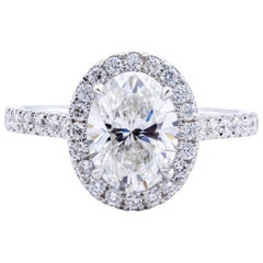 David Rosenberg 1.51 Carat Oval Cut GIA Halo Diamond Engagement Ring
