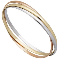 Cartier 18 Karat Yellow, White, and Rose Gold Trinity Bangle