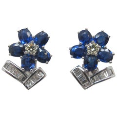 4.35 Carat Blue Sapphire and Diamond Earrings