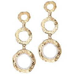 20 Karat Open Serenity Three Flower Drop Diamond Earrings