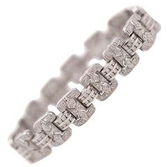 1950s 3 Carat Diamond and 18 Karat White Gold Bracelet