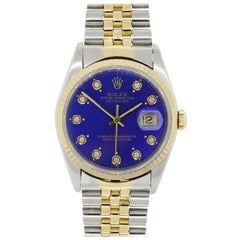 Rolex Stainless Steel Diamond Datejust Blue Dial Automatic Wristwatch Ref 16233