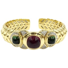 18 Karat Solid Gold Braided Cuff Bracelet with Diamonds and Tourmalines