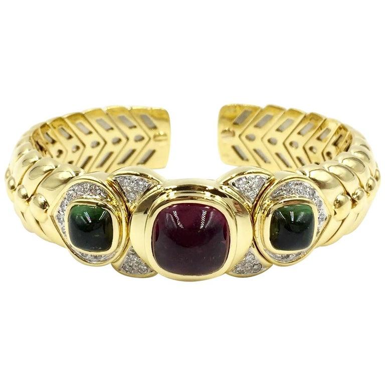 18 Karat Solid Gold Braided Cuff Bracelet with Diamonds and Tourmalines