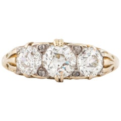 18 Karat Three Diamond circa 1895 Ring