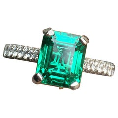 Vivid Green Emerald with Pave Diamond Down Shank, 3 Carat and TW, Platinum