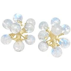 John Iversen Rainbow Moonstone Gold Small Jack Stud Earrings