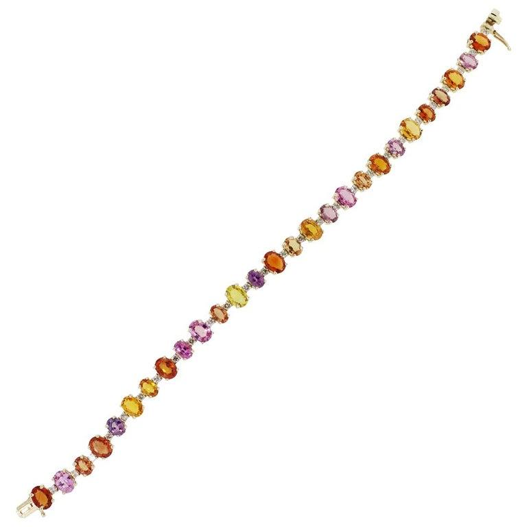 Multi-Color Sapphires and Diamond Bracelet