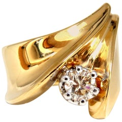 .53 Carat Natural Fancy Light Brown Diamond ring 14 Karat Bypass Deco