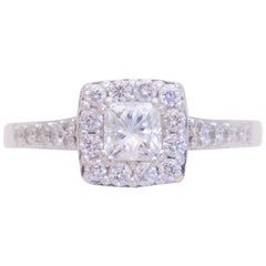 Princess Diamond Halo Engagement Ring