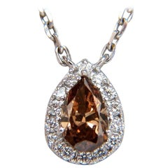 .71 Carat Natural Fancy Brown Diamonds Necklace 14 Karat