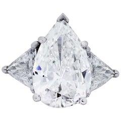 GIA Certified 6.19 Carat Pear Shape Diamond Engagement Ring