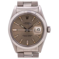 Rolex stainless steel Date Gray Dial self winding Wristwatch Ref 1500, c 1970