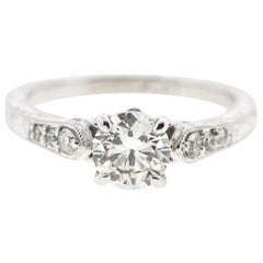 Round Diamond Engagement Ring, Channel Set Side Diamonds and Engraving 'Certed'