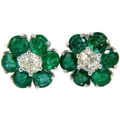 2.71 Carat Natural Vivid Green Emerald Diamond Earrings 14 Karat Cluster