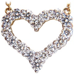 1.00 Carat Diamonds Open Heart Necklace 14 Karat g/vs
