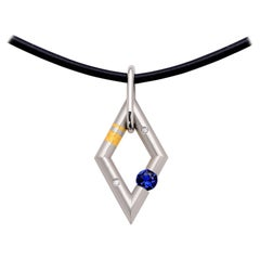 Steven Kretchmer Platinum Diamond Shaped Pendant with Tension-Set Blue Sapphire