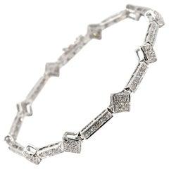 2.00 Carat Diamond 18 Karat White Gold Square Link Bracelet