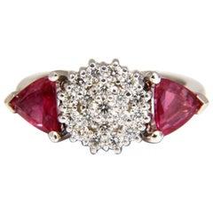 2.00 Carat Natural Pink Sapphire Diamonds Ring 14 Karat Circular Cluster Top