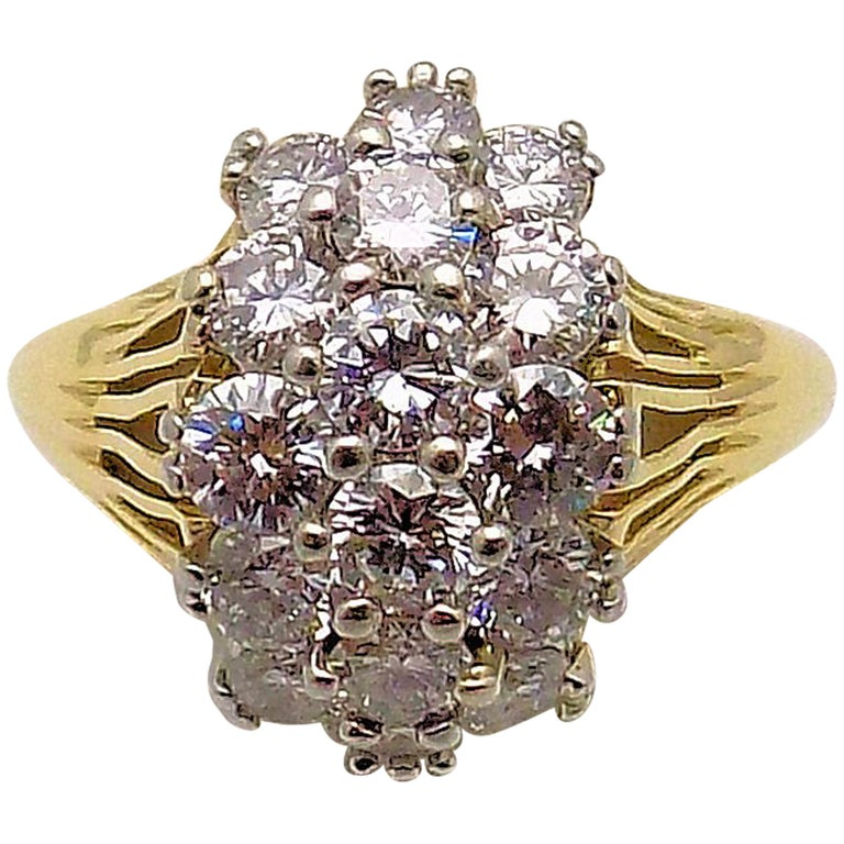 Diamond Cluster Cocktail Ring For Sale