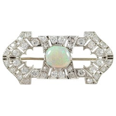 Art Deco Platinum 1.08 Carat Opal and 1.38 Carat Diamond Brooch