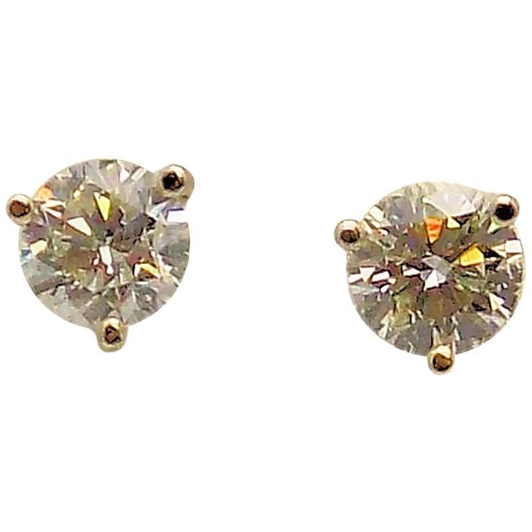 Pair of Diamond Stud Earrings in Martini Setting For Sale