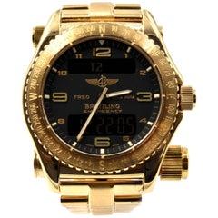 Breitling yellow gold Emergency Aviators Chronometer Quartz Wristwatch