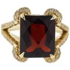 7 Carat Garnet and Sapphire Ring with European Shank in 18 Karat Yellow Gold