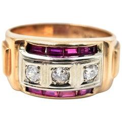 Vintage Diamond and Ruby 14 Karat Yellow Gold Ring