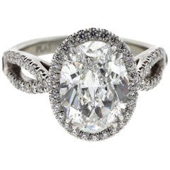 3 Carat Oval Diamond Engagement Ring with Twisted Shank, Platinum 'GIA'