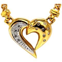.25 Carat Natural Diamonds Heart Necklace 14 Karat Yellow Gold