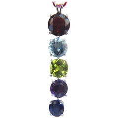 16.00 Carat Natural Garnet Aquamarine Peridot Amethyst Kyanite Drop Pendant